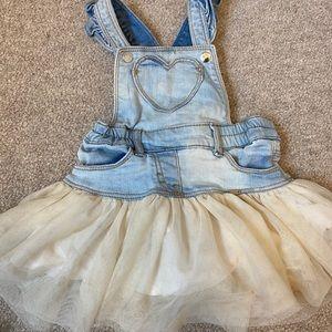 Mayoral denim tulle overall skirt